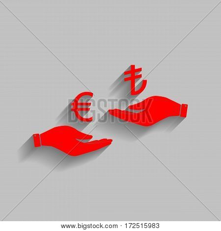 Currency exchange from hand to hand. Euro and Lira. Vector. Red icon with soft shadow on gray background.