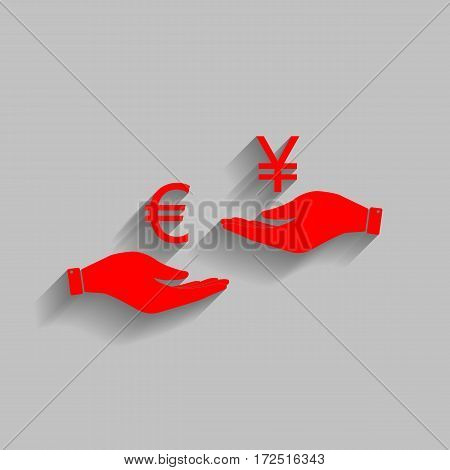 Currency exchange from hand to hand. Euro and Yen. Vector. Red icon with soft shadow on gray background.
