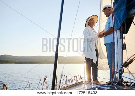 Happy senior female looknig at her husband during voyage