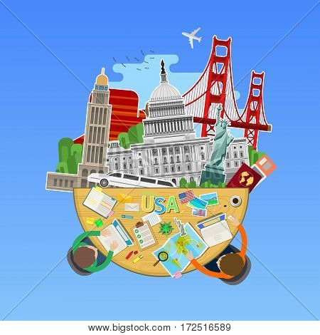 Concept of travel or studying English. American flag with landmarks in the office. Flat design, vector illustration