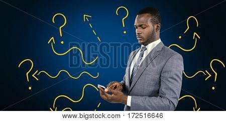 Businessman using his mobile phone against blue background with vignette