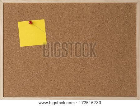 Sticky yellow note on wooden frame cork board.