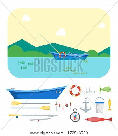 Cartoon Fishing Boat on Landscape Background and Gear Set Flat Design Style. Vector illustration