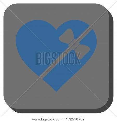 Tied Love Heart interface toolbar button. Vector pictogram style is a flat symbol inside a rounded square button cobalt blue and gray colors.