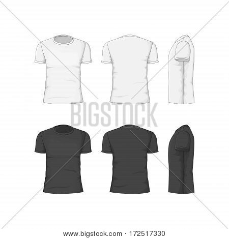 Man T-shirt White and Black Cotton Clothing Front, Back and Side View. Classic Garment Vector illustration