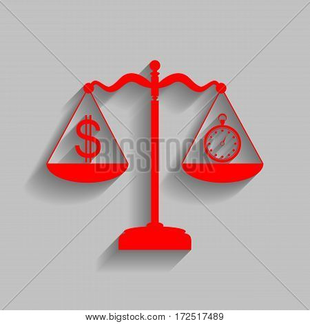 Stopwatch and dollar symbol on scales. Vector. Red icon with soft shadow on gray background.