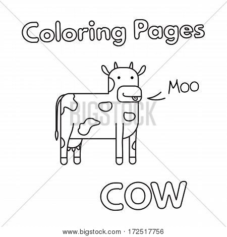Cartoon cow illustration. Vector coloring book pages for children
