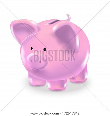 Realistic Money Box Pink Pig Investment and Savings Finance Concept. Vector illustration