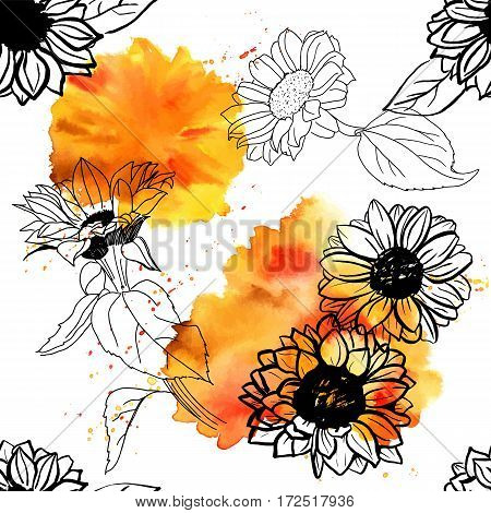 A seamless pattern of freehand vector sunflowers with splashes of watercolour, on white background