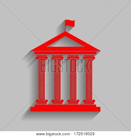 Historical building with flag. Vector. Red icon with soft shadow on gray background.