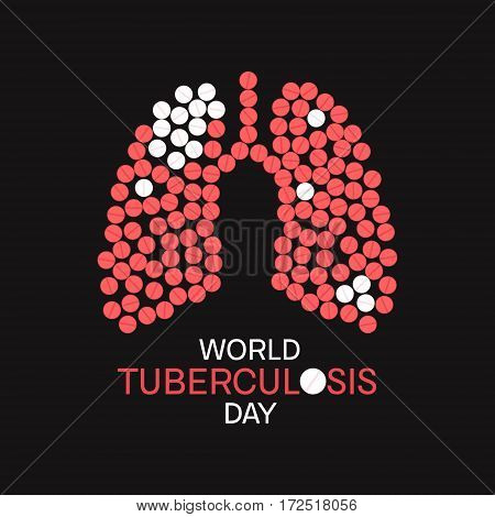World Tuberculosis Day poster with lungs made of pills on black background. TB awareness sign. Medical solidarity day concept. Vector illustration.
