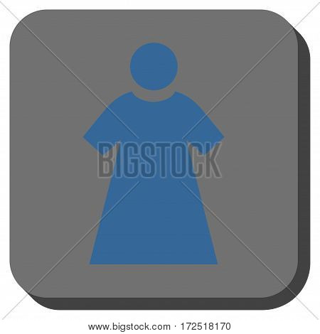 Woman square icon. Vector pictograph style is a flat symbol on a rounded square button cobalt blue and gray colors.