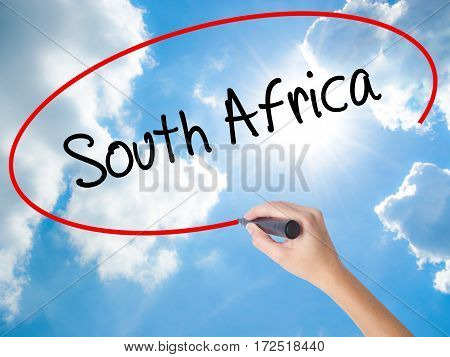 Woman Hand Writing South Africa With Black Marker On Visual Screen