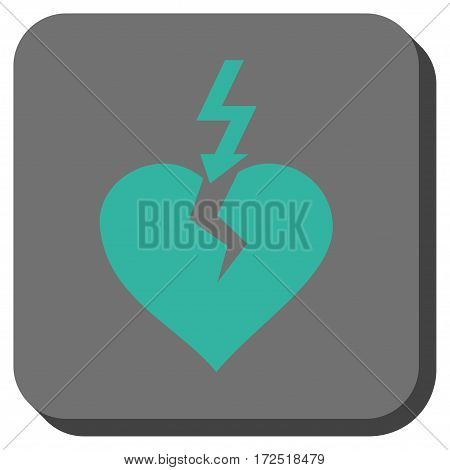 Break Heart square icon. Vector pictogram style is a flat symbol on a rounded square button cyan and gray colors.