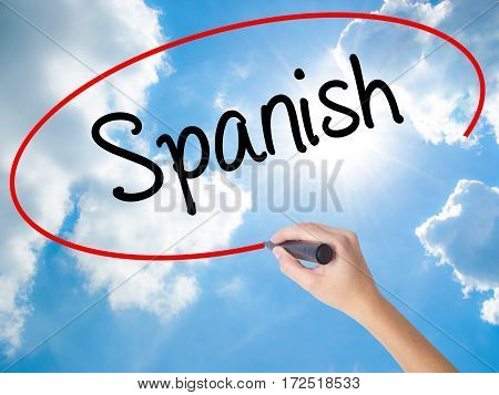 Woman Hand Writing Spanish With Black Marker On Visual Screen