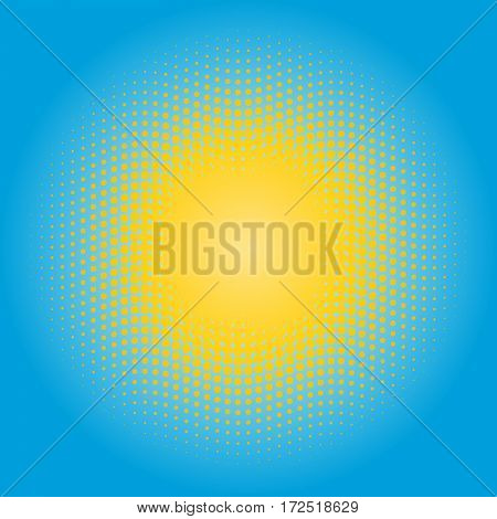 Halftone sun design element. Circle of yellow dots on blue sky background.