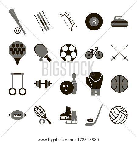 Sport Icon Signs and Symbols Black Set for Web or App Mobile. Vector illustration