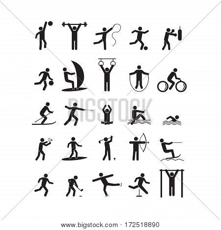 Sport Icon Playing People Black Set for Web or App. Vector illustration