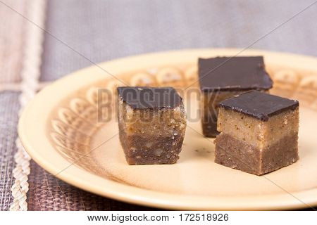 Homemade Chocolate Bajadera Cookies On The Plate