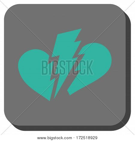 Broken Heart rounded button. Vector pictogram style is a flat symbol on a rounded square button cyan and gray colors.