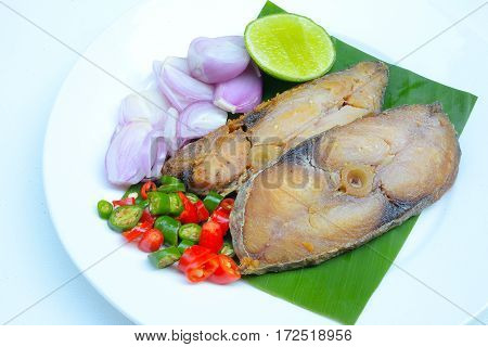 Salted fish Spicy salted with lamon,Pepper and Onions