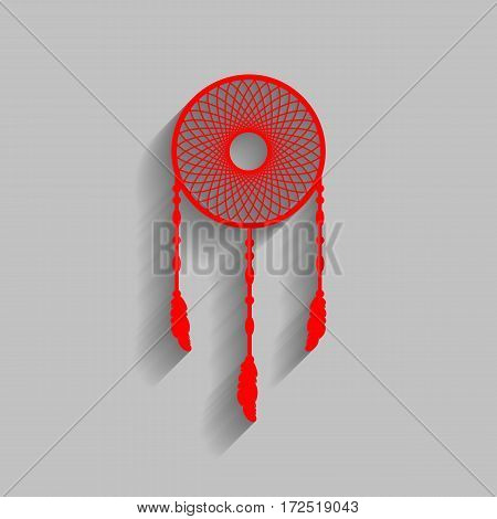 Dream catcher sign. Vector. Red icon with soft shadow on gray background.
