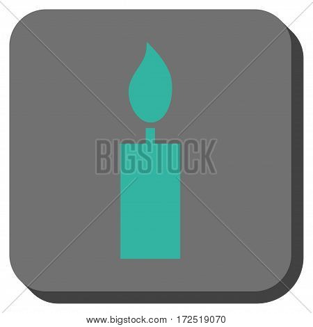 Candle interface toolbar icon. Vector pictogram style is a flat symbol on a rounded square button cyan and gray colors.