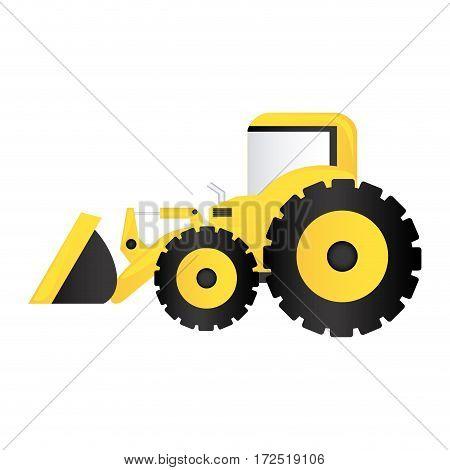 color backhoe loader icon, vector illustration image design