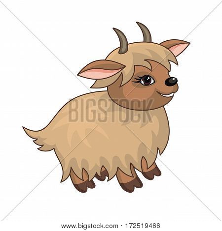 The vector image of a ridiculous  goat in cartoon style isolated on a white background.