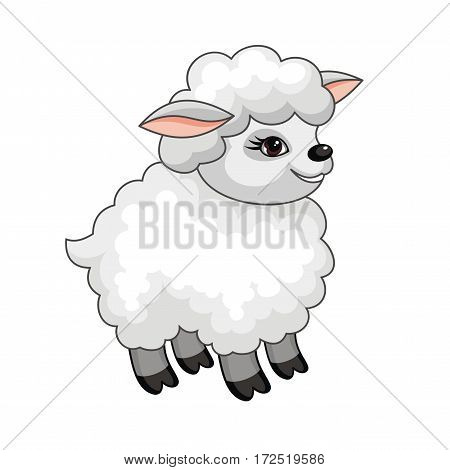 The vector image of a ridiculous sheep in cartoon style isolated on a white background.