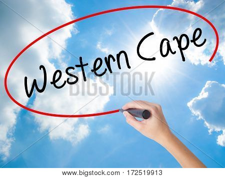 Woman Hand Writing Western Cape With Black Marker On Visual Screen.