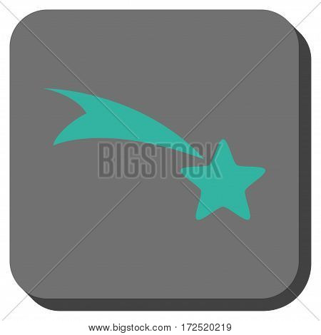 Falling Star square icon. Vector pictograph style is a flat symbol in a rounded square button cyan and gray colors.
