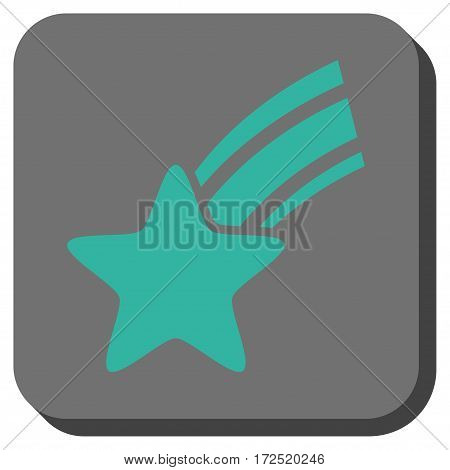 Falling Star square icon. Vector pictogram style is a flat symbol in a rounded square button cyan and gray colors.