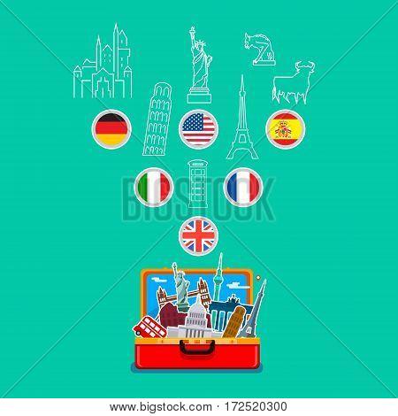 Concept of travel. Open orange suitcase with landmarks on blue background. Flat design, vector illustration.