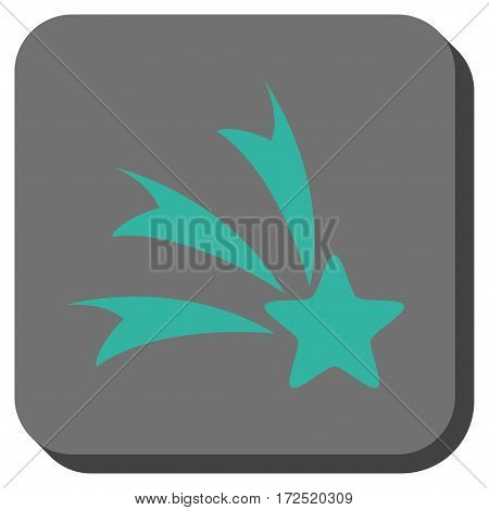 Falling Star interface icon. Vector pictogram style is a flat symbol in a rounded square button cyan and gray colors.