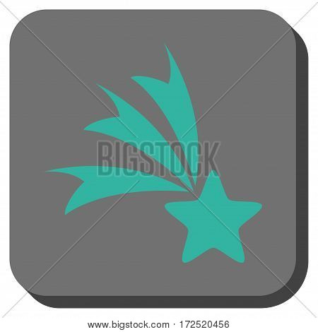 Falling Star square button. Vector pictogram style is a flat symbol on a rounded square button cyan and gray colors.