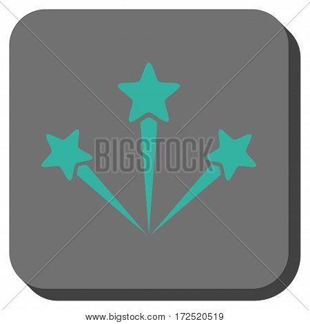 Festive Fireworks interface toolbar icon. Vector pictograph style is a flat symbol centered in a rounded square button cyan and gray colors.