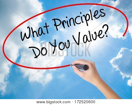Woman Hand Writing What Principles Do You Value? With Black Marker On Visual Screen