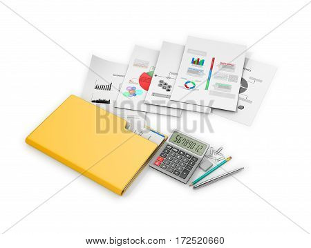Office documents and folders on a white background. 3D illustration