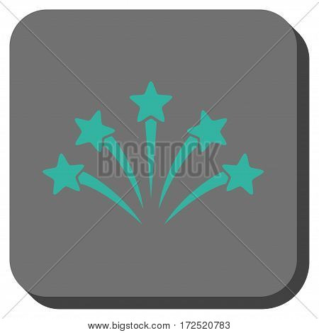 Fireworks Burst toolbar icon. Vector pictogram style is a flat symbol in a rounded square button cyan and gray colors.