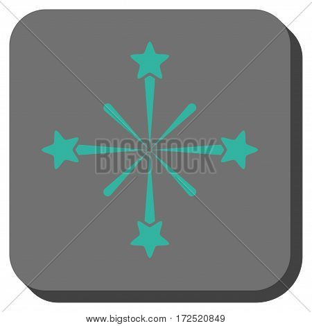 Fireworks square button. Vector pictograph style is a flat symbol centered in a rounded square button cyan and gray colors.