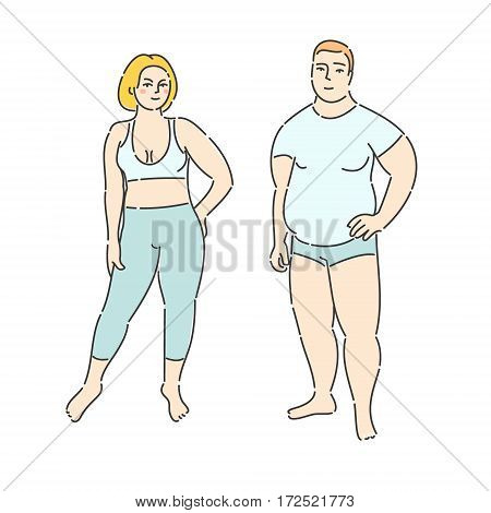 Fat man and woman on white background. Flat design, vector illustration.
