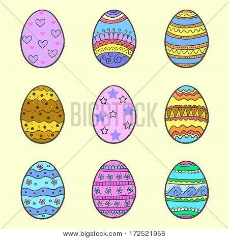Doodle of easter egg set colorful vector art