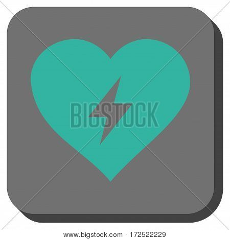 Heart Power square button. Vector pictogram style is a flat symbol in a rounded square button cyan and gray colors.