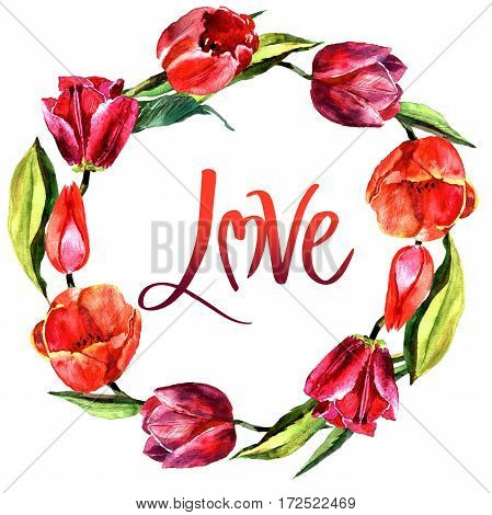 Wildflower tulip flower wreath in a watercolor style isolated. Full name of the plant: red and pink tulips. Aquarelle wild flower for background, texture, wrapper pattern, frame or border.