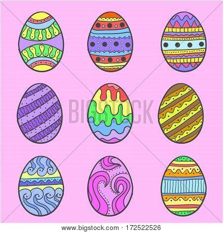 Doodle of easter egg colorful set vector illustration