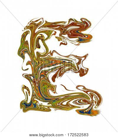 Luxuriously illustrated painted letter E.