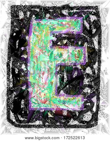 The colored abstract Initials letter E.