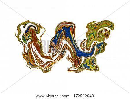Luxuriously illustrated painted letter W.