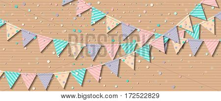 Bunting Flags. Fine Celebration Card With Colorful Paper Bunting Flags And Confetti. Party Backgroun